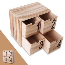 4 cajones Mini caja de joyería decorativa de almacenamiento de escritorio de madera 4 cajones Mini caja de joyería decorativa de almacenamiento de escritorio de madera