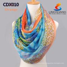 Lingshang New Women Fashion Stylish Wholesale Dot Leopard Soft Silk Chiffon Stole Shawl Scarf