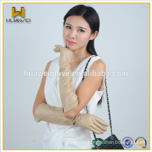 Ladies long genuine goatskin gloves cream colour leather gloves