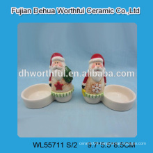 2016 new style ceramic candle holder with santa design