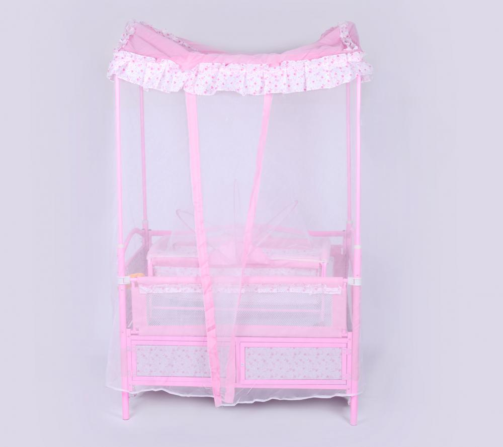 Luxury Iron Baby Bed with Four - Poster Bed Mosquito- Net and Cradle