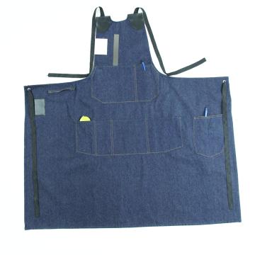 Delantal de trabajo reutilizable Delantal vaquero de mezclilla personalizado