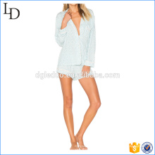 Satin silk ladies pjs soft print button up pajamas for bulk