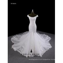 Lace sereia vestido de noiva com babados vestido vestido de noiva com cordão vestido longo com ombro