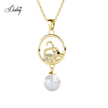 Animal Mouse Dangling Drop Pearl Pendant Necklace Jewelry with Premium Grade Crystal From Austria