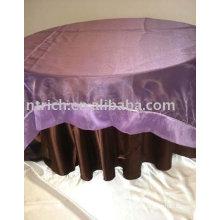 Toalha de mesa, toalhas de mesa, tampa de tabela do cetim, organza sobreposição