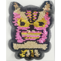Colorful Owl Sequin Applique Patch Laser Cutting Tulle