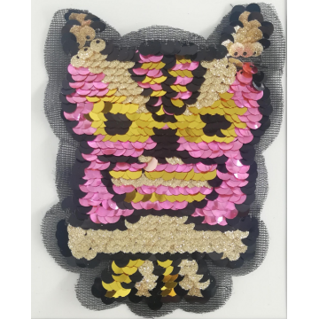 Colourful Owl Payet Applique Patch Laser Cutting Tulle