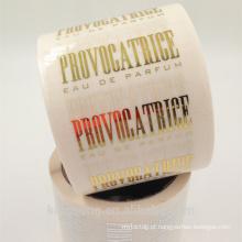 rolo autocolante adesivo transparente com ouro hot stamp