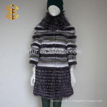 Дизайн бренда Luxuries Стиль Подлинная серебристая лиса Мех и кролика Мех Стенд Воротник Зимнее меховое пальто