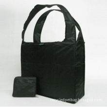 Black Recycled Shopping Bags, Reusable Screen Printing Polyester Fabric Foldable Bag