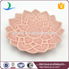 Wholesale Pink Ceramic Dish With Flower Design