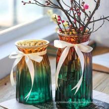 Nordic Style Transparent Crystal Glass Flared Flower Vase