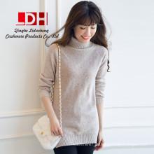 2017 Nueva primavera chica de moda blanco personalizar espesar grueso cuello alto sección larga delgada de las mujeres vestido de suéter de cachemira