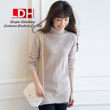 2017 New spring Fashion girl white customize thicken heavy Turtleneck long section slim Women's cashmere sweater dress