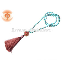 Mala Bead Turquoise Tassel Necklace , Buddha Yoga Tassel Necklace