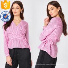 Rosa y blanco de algodón a rayas de manga larga con cuello en v verano blusa de fabricación al por mayor de prendas de vestir de las mujeres de moda (TA0049B)