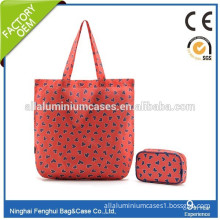 bottom price red loving heart nylon makeup bag shopping bag with two-piece