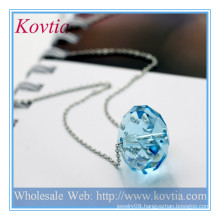 HIGH fashion large crystal ball pendant sterling silver necklace