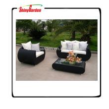 Muebles de jardín de ratán sintético, sofás de lujo de mimbre al aire libre, conjunto de ratán tejido de plástico al aire libre 3pcs
