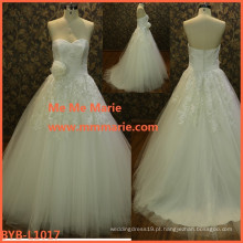Por atacado vestido de noiva imagens de amostra flor de cristal enrolado laço 2016 novo design vestido vestido de noiva manufactory BYB-L1017