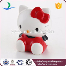 Hot Selling Cute Hello Kitty Shape Ceramic Coin Bank