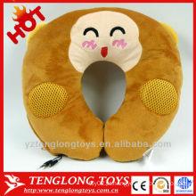 YOCI macaco de pelúcia U travesseiro travesseiro forma com alto-falante