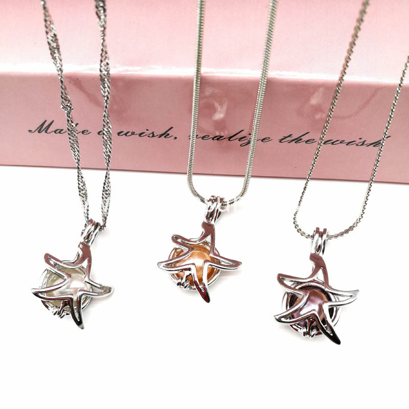 Starfish Pearl Cage Pendant Necklace