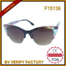 F15138 Mulher metade Frame óculos de sol