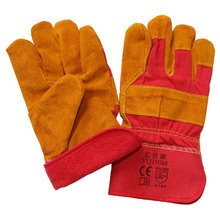 Brown Leather Cotton Full Lining Winter Safety Protective Gloves