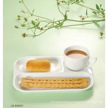 Conjunto de café da manhã de porcelana cor branca JX-BS605