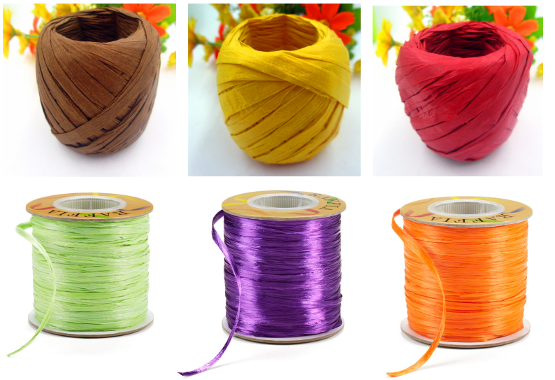 wrapping paper raffia ribbon