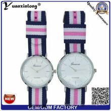 Yxl-547 OEM Logo Nylon Reloj Muchos Color Band Man Relojes De Lujo Cuarzo Pareja Watch