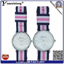 Yxl-547 OEM Logo Nylon montre beaucoup de bande de couleur Man poignet montres luxe Quartz Couple montre