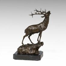 Животный бронзовый скульптурный олень Рев Резьба Деку Латунная статуя Tpy-273