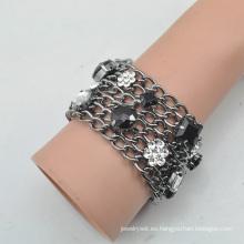 VAGULA Fvagula del Ashion Gun Metal E6384 de pulseras de cristal de diamante de imitación