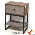 Antiguo marrón francés mesa lateral de madera pequeños Nightstands