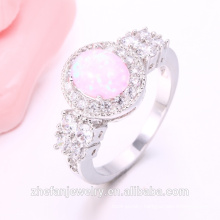 2018 Zhe Fan pink opal Jewelry Women Rings