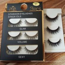 2016 Premium Three pairs 3D faux mink false eyelash for reseller