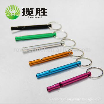 Wholesale Whistle Aluminium Mini Long Whistle Keychain Keyring Camping Survival Whistle
