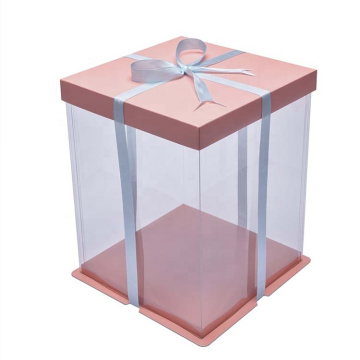 Food Grade PET Plastic Wedding Square Cake Box