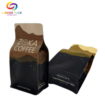 Resealable Flat Bottom Coffee Kraft Paper Zipper Bags