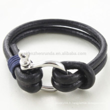Vente en gros Forme Shackle Bracelet Bijoux Bijoux en cuir véritable en cuir véritable avec hommes Accessoires en crochet en acier inoxydable