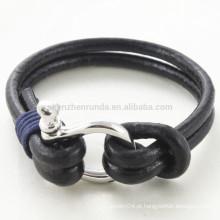 Atacado Moda Shackle Bracelet Jóias Brown Couro Genuine Rope Braceletes com Homens Acessórios de gancho de aço inoxidável