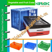 mesh grid plastic crate with solid base in bottom