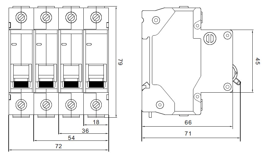 DZ47-63S Mini Circuit Breaker Dimension