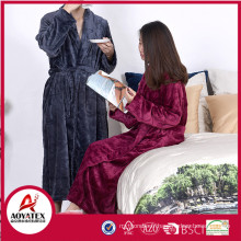 Warm flannel fleece unisex long bathrobe for home