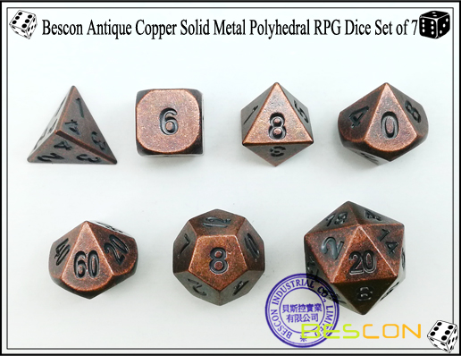 Bescon Antique Copper Solid Metal Polyhedral RPG Dice Set of 7-3