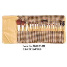 18pcs plastic handle animal or nylon hair cosmetic brush kit with printed satin folder