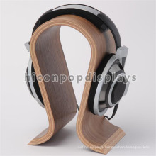 Factory Price Custom Counter Top N Shape Supermarket Cheap Bamboo Wood Single Headphone Display